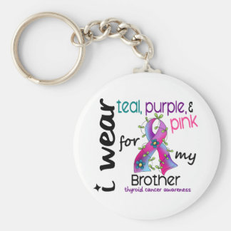 Thyroid Cancer I Wear Ribbon For My Brother 43 Keychain