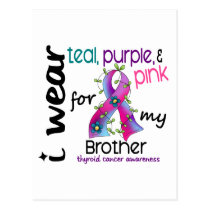 Thyroid Cancer I Wear Ribbon For My Brother 43 Postcard