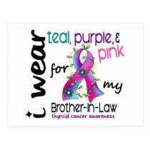 Thyroid Cancer I Wear Ribbon For My Brother-In-Law Postcard