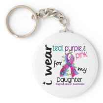 Thyroid Cancer I Wear Ribbon For My Daughter 43 Keychain