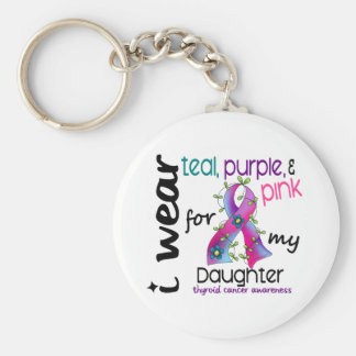Thyroid Cancer I Wear Ribbon For My Daughter 43 Basic Round Button Keychain