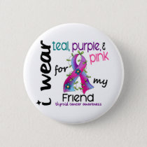 Thyroid Cancer I Wear Ribbon For My Friend 43 Button