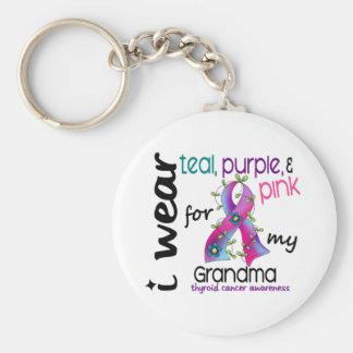 Thyroid Cancer I Wear Ribbon For My Grandma 43 Keychain