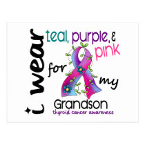 Thyroid Cancer I Wear Ribbon For My Grandson 43 Postcard