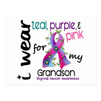 Thyroid Cancer I Wear Ribbon For My Grandson 43 Postcard