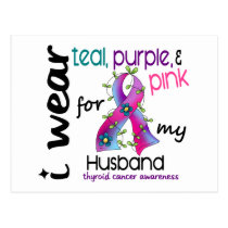 Thyroid Cancer I Wear Ribbon For My Husband 43 Postcard