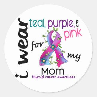 Thyroid Cancer I Wear Ribbon For My Mom 43 Classic Round Sticker