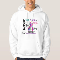 Thyroid Cancer I Wear Ribbon For My Sister 43 Hoodie