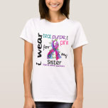 Thyroid Cancer I Wear Ribbon For My Sister 43 T-Shirt