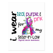 Thyroid Cancer I Wear Ribbon For My Sister-In-Law Postcard