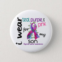 Thyroid Cancer I Wear Ribbon For My Son 43 Pinback Button
