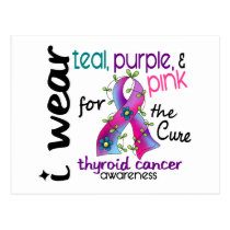 Thyroid Cancer I Wear Ribbon For The Cure 43 Postcard