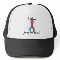Thyroid Cancer I WEAR THYROID RIBBON 1 Best Friend Trucker Hat
