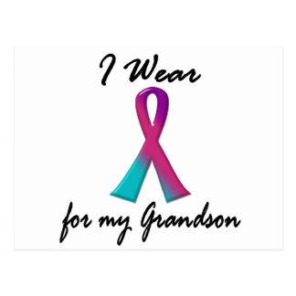 Thyroid Cancer I WEAR THYROID RIBBON 1 Grandson Postcard