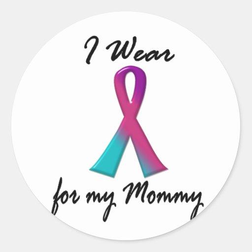 Thyroid Cancer I WEAR THYROID RIBBON 1 Mommy Round Stickers