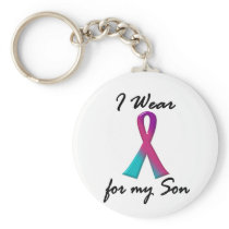 Thyroid Cancer I WEAR THYROID RIBBON 1 Son Keychain