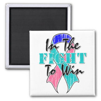 Thyroid Cancer In The Fight To Win 2 Inch Square Magnet