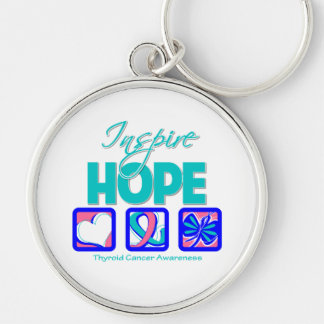 Thyroid Cancer Inspire Hope Silver-Colored Round Keychain