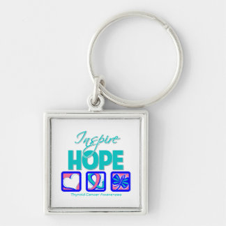 Thyroid Cancer Inspire Hope Silver-Colored Square Keychain