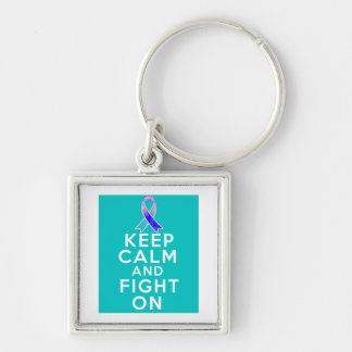 Thyroid Cancer Keep Calm and Fight On Key Chain