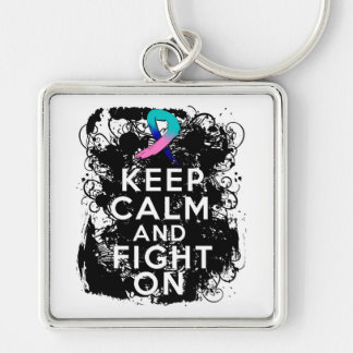 Thyroid Cancer Keep Calm and Fight On png Key Chain