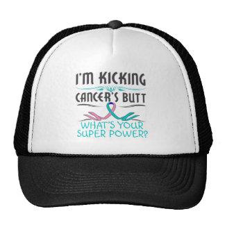 Thyroid Cancer Kicking Cancer Butt Super Power Trucker Hat