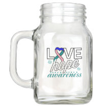 Thyroid Cancer Love Hope Awareness Mason Jar