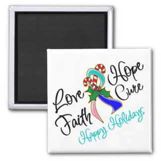 Thyroid Cancer Love Hope Holidays 2 Inch Square Magnet