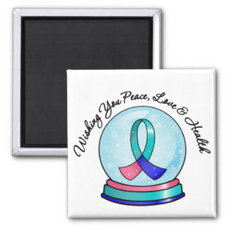 Thyroid Cancer Merry Christmas Snowglobe 2 Inch Square Magnet