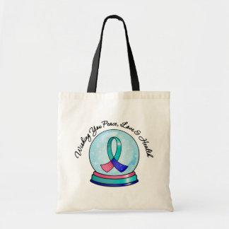 Thyroid Cancer Merry Christmas Snowglobe Tote Bag
