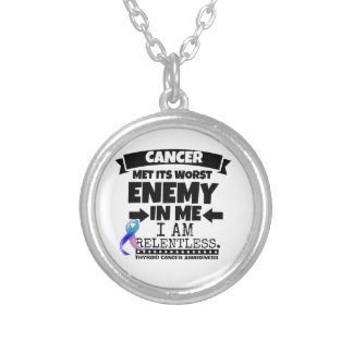 Thyroid Cancer Met Its Worst Enemy in Me Silver Plated Necklace