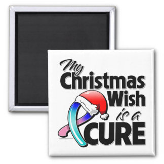 Thyroid Cancer My Christmas Wish is a Cure 2 Inch Square Magnet