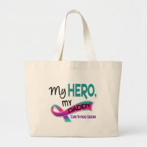 Thyroid Cancer MY HERO MY DADDY 42 Large Tote Bag