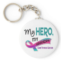 Thyroid Cancer MY HERO MY GRANDPA 42 Keychain