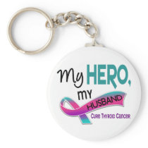Thyroid Cancer MY HERO MY HUSBAND 42 Keychain