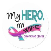 Thyroid Cancer MY HERO MY WIFE 42 Classic Round Sticker