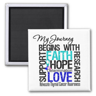 Thyroid Cancer My Journey Begins With FAITH Refrigerator Magnet