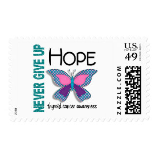 Thyroid Cancer Never Give Up Hope Butterfly 4.1 Postage Stamp