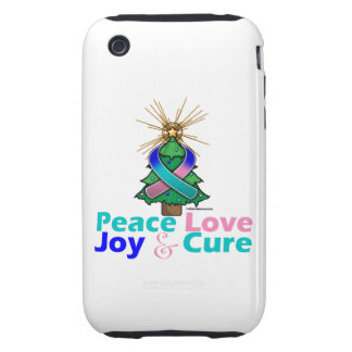 Thyroid Cancer Peace Love Joy Cure Tough iPhone 3 Case