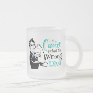 Thyroid Cancer Picked The Wrong Diva Frosted Glass Mug