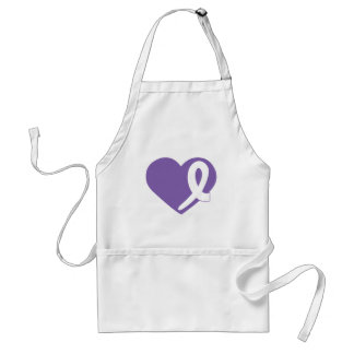Thyroid Cancer Purple Heart white ribbon apron