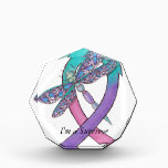 """Thyroid Cancer Ribbon Acrylic Award<br><div class=""""desc"""">A Dragonfly soaring through the support Ribbon to symbolize a warrior. Written inside &quot;I&#39;m a Survivor&quot; which makes the perfect gift for your loved one.</div>"""