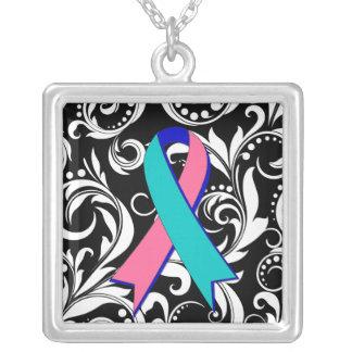Thyroid Cancer Ribbon Deco Floral Noir Necklaces