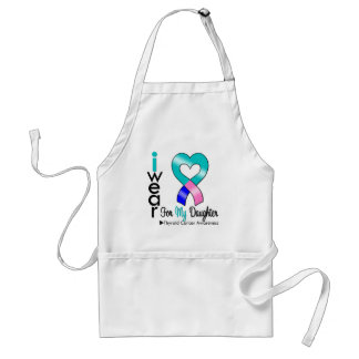 Thyroid Cancer Ribbon For My Daughter Aprons