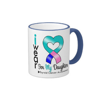 Thyroid Cancer Ribbon For My Daughter Coffee Mugs