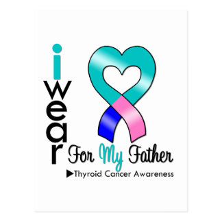Thyroid Cancer Ribbon For My Father Postcard