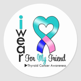Thyroid Cancer Ribbon For My Friend Stickers