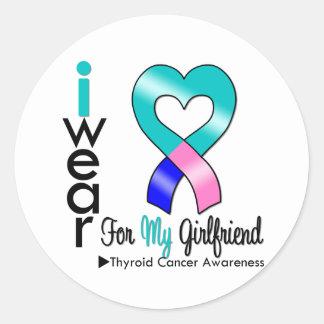 Thyroid Cancer Ribbon For My Girlfriend Round Sticker