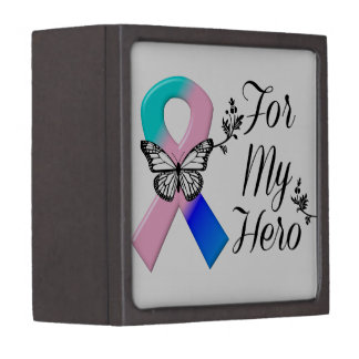 Thyroid Cancer Ribbon For My Hero Jewelry Box