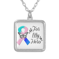 Thyroid Cancer Ribbon For My Hero Silver Plated Necklace